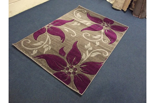 Grey And Purple Flower Pattern Area Rug