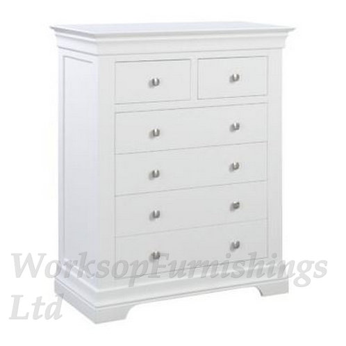 Cambridge White 2 Over 4 Drawer Chest