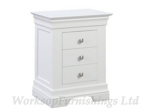 Cambridge White 3 Drawer Side Table