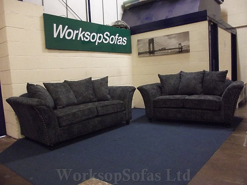 'Ursas' Charcoal Grey 3 & 2 Seater Sofa Suite