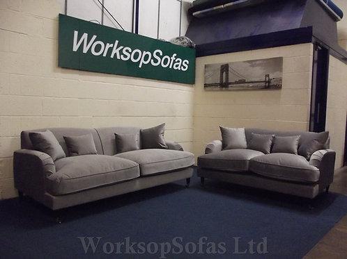 'Elizabeth' Grey Velvet 3 & 2 Seater Sofa Suite