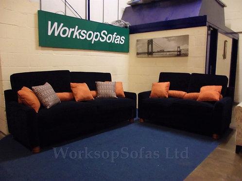 'Royale' Navy Velvet 3 & 2 Seater Sofa Suite