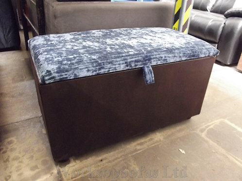 Blue And Brown Storage Ottoman