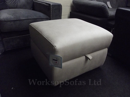 Cream Fabric Storage Footstool