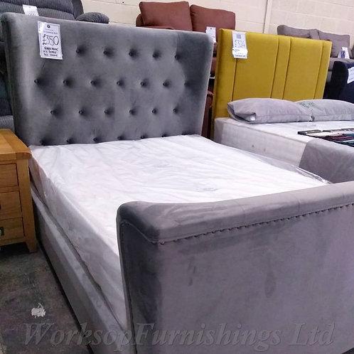 'Queen Anne' Grey Velvet Double Bed Frame