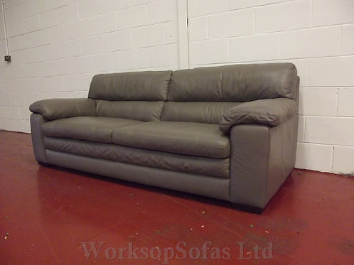 'Cozee' 3 Seater Elephant Grey Leather Sofa