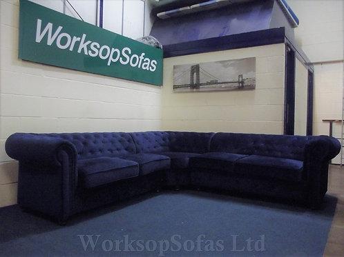 'Aria' Royal Blue Velvet Chesterfield Style Corner Sofa