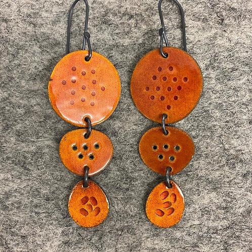 Tidal Triple Drop Earrings - Orange
