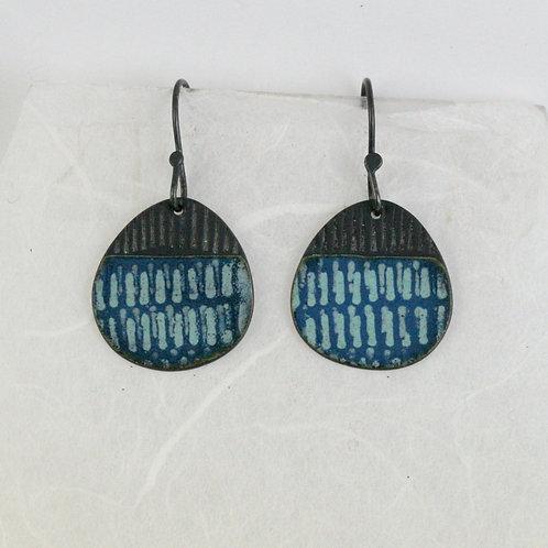 Island Earring Drops - duck egg & marine blue, limited edition