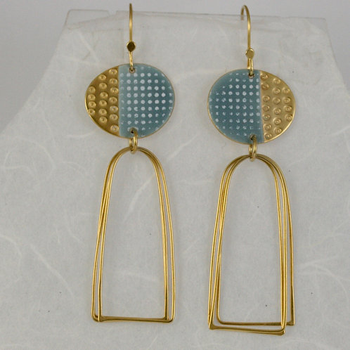 Islands earrings with loops, blue-grey, gold vermeil