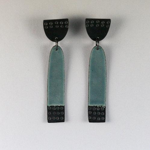 Earrings Buoy series Long - Blue-grey