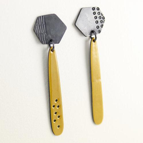 Basalt Enamel Drop Earrings - Yellow