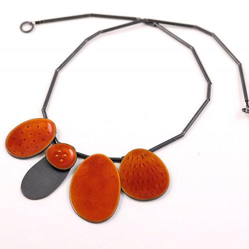 Neckpiece Cluster 5 - burnt orange