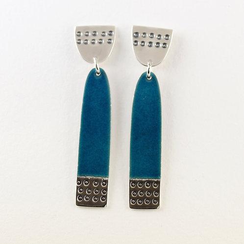 Earrings Buoy series Long - Teal Blue