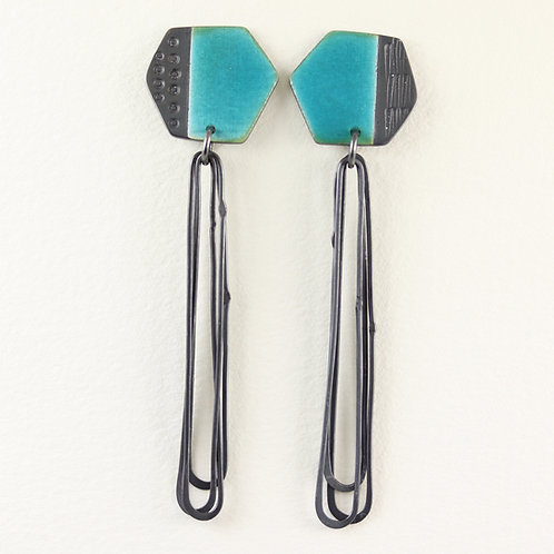 Basalt stud earrings with long loops - turquoise