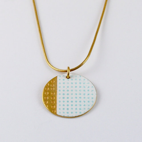 Island Pendant Small - White, Gold Plated