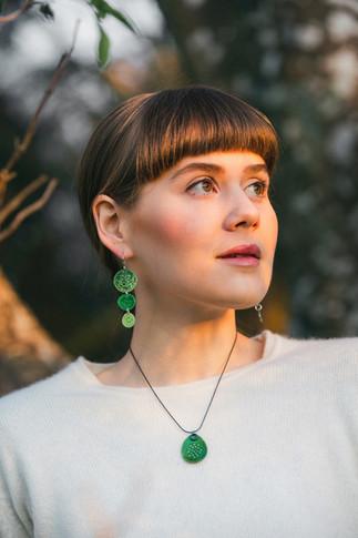 Tidal triple drop earrings and pendant
