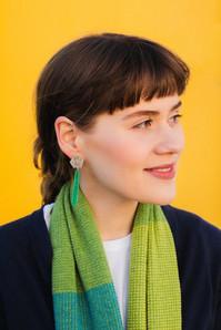 Basalt enamel drop earrings