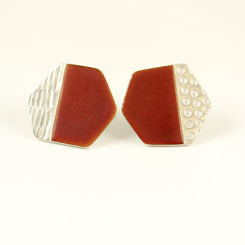 Basalt Stud Earrings - Burnt Orange