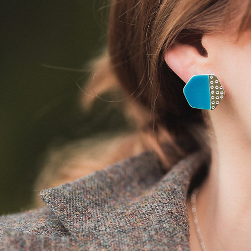 Basalt Stud Earrings - Aqua Blue