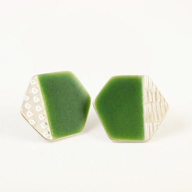 Basalt stud earrings, green