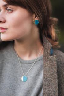 Basalt Stud Earrings & Island Pendant