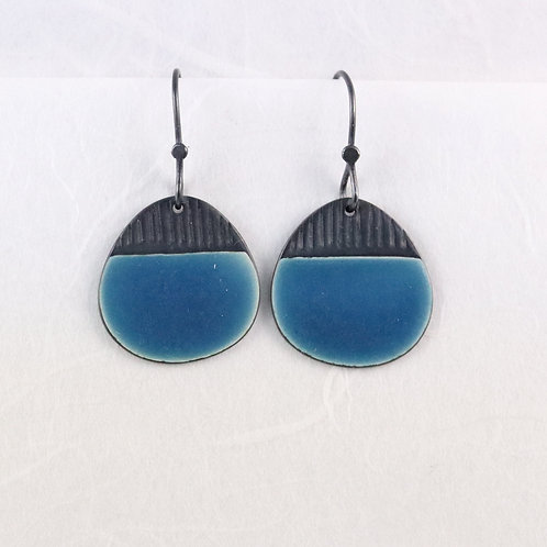 Island Earring Drops - Blue, oxidised