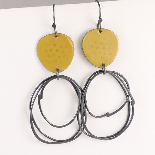 Flotsam Earrings with loops in Yellow, made to order