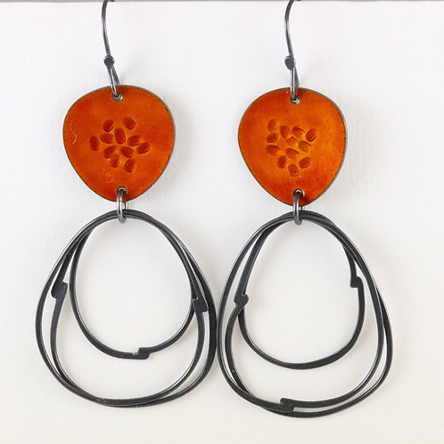 Flotsam Earrings with loops in Burnt Orange