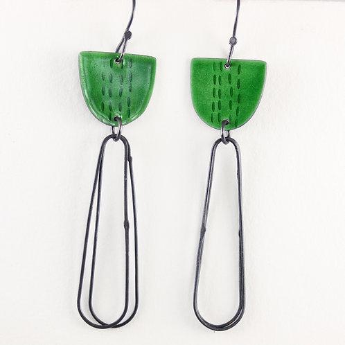 Libby Earrings with Long Loops in Green