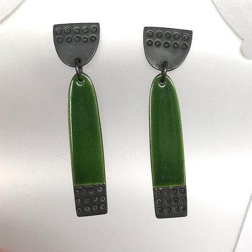 Long Buoy Earrings Green