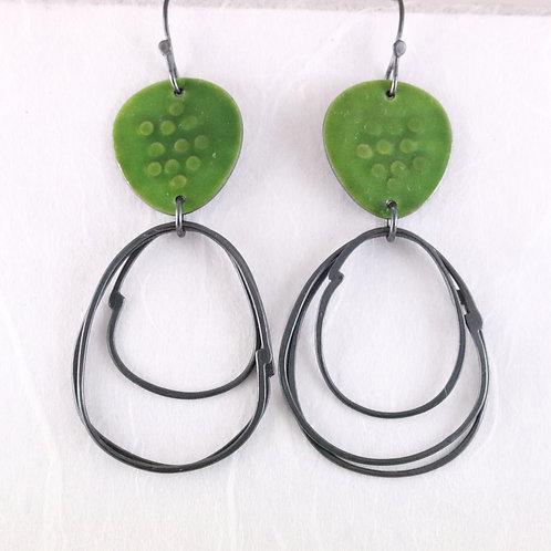 Flotsam Earrings with loops in Green