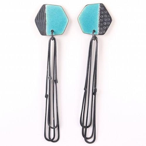 Basalt stud earrings with long loops - turquoise