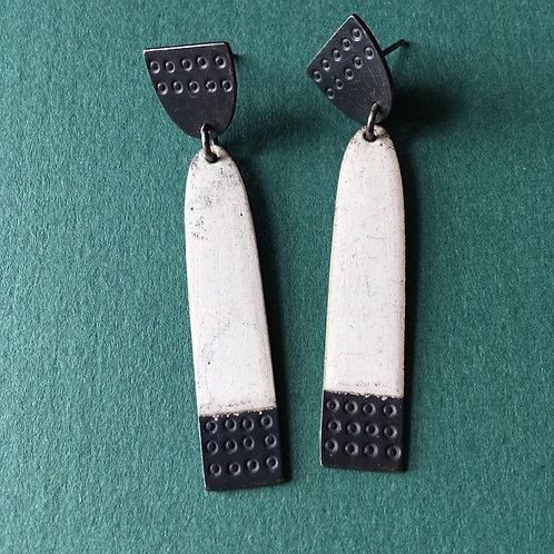 Long Buoy Earrings White