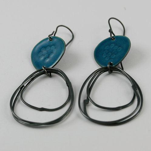 Flotsam Earrings with loops oxidised - various colours, made to order