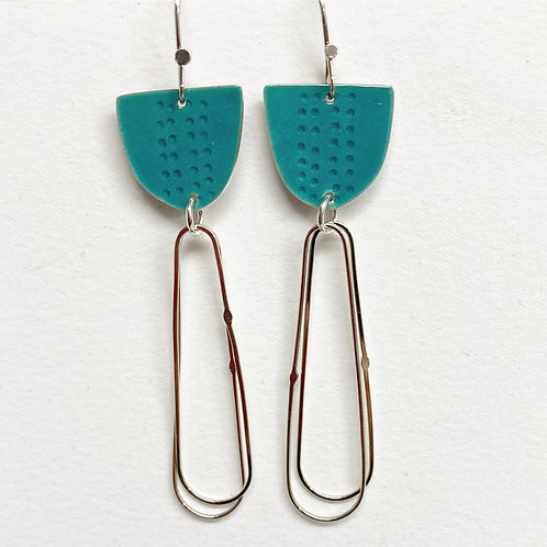 Libby Earrings with Long Loops in Turquoise