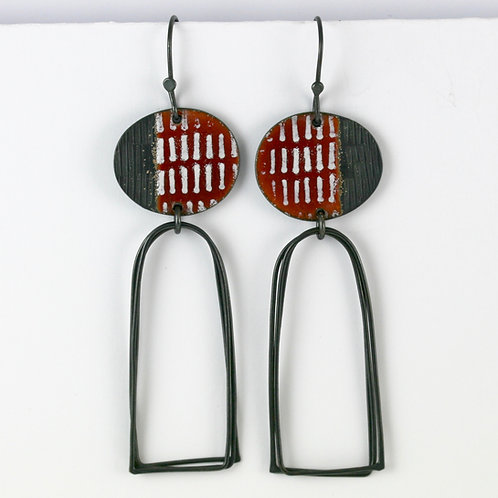 Island Earrings with Arch Loops, Rust