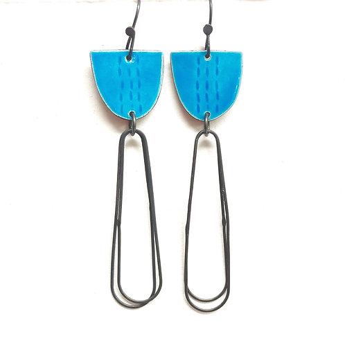 Libby Earrings with Long Loops in Aqua Blue