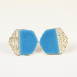 Basalt and stud earrings, aqua blue