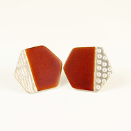 Basalt stud earrings, rust