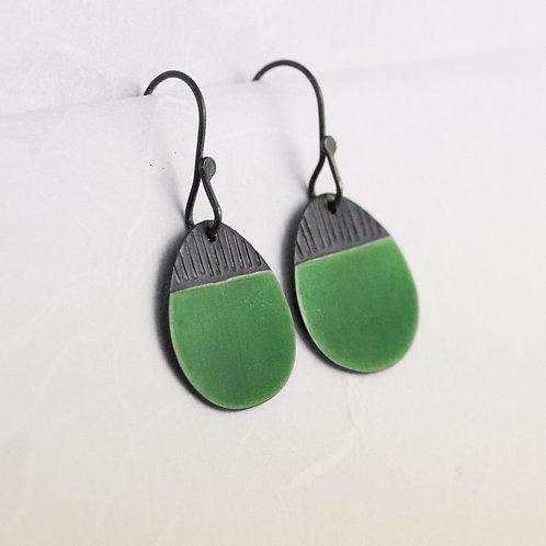Island Earring Drops in Green, oxidised