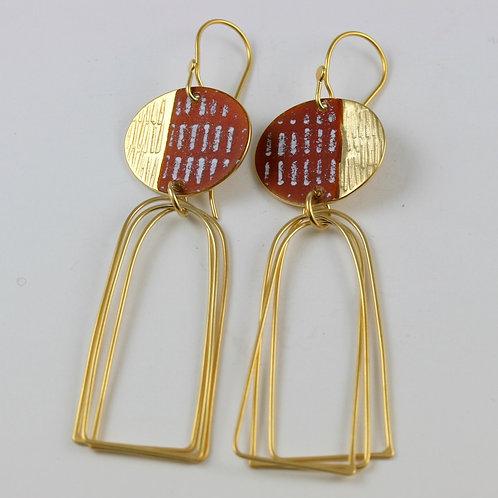Island Earring Arch Loops Rust Gold Vermeil