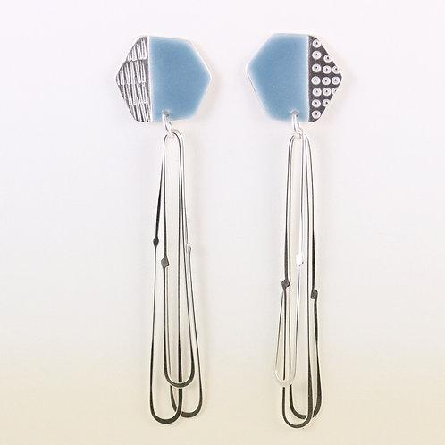 Basalt stud earrings with long loops - blue-grey