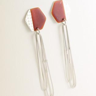 Basalt enamel earrings with long loops