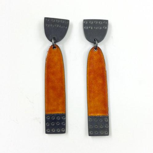 Earrings Buoy series Long Burnt Orange made to order