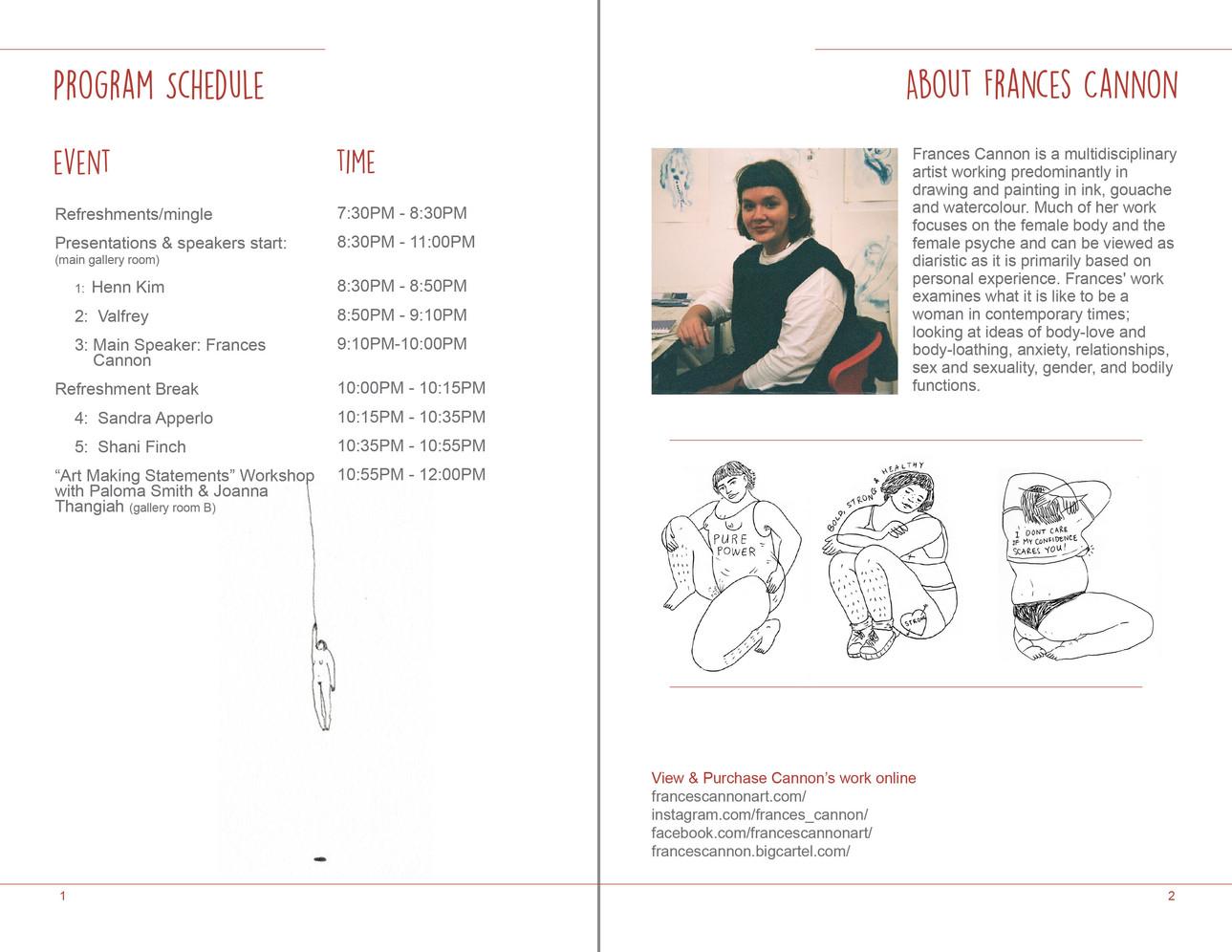 Artist event pamphlet design inside pages