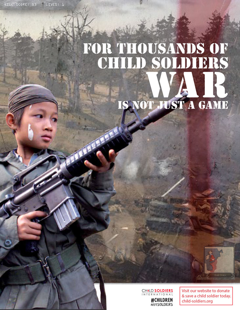 Child soldiers cause magazine page