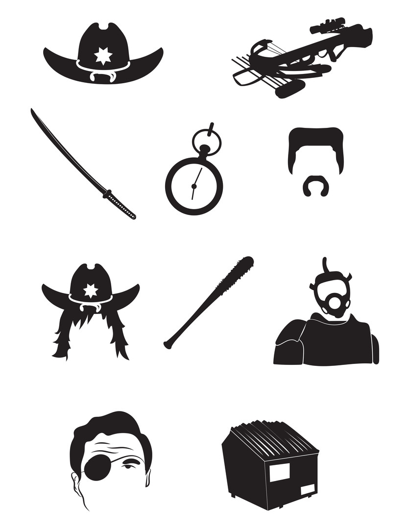 The Walking Dead icon illustrations