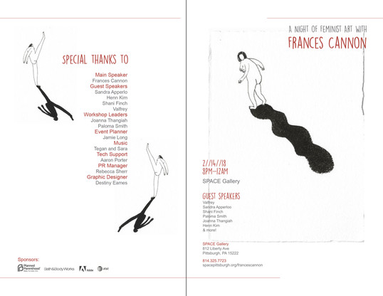 Artist event pamphlet design cover and back pages