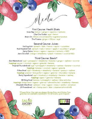 Salud Juicery event menu design